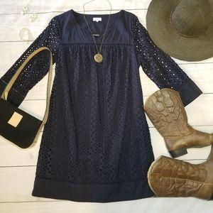 Crown & Ivy | 100% Cotton Navy Eyelet Dress